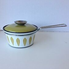 Vintage Cathrineholm Enamel Chrome Lotus Flower Saucepan Green Norway 0 Chips