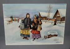 Fine Russian Watercolor Painting of Villagers - Signed by the Artist