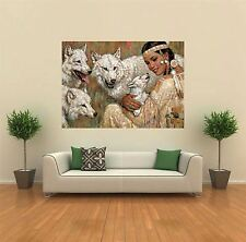 INDIAN WOMAN SQUAW WOLVES NEW GIANT POSTER WALL ART PRINT PICTURE G163