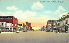 Albany GA Broad Street Store Fronts Old Cars Postcard