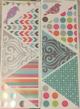 PATTERNED BANNER wall stickers 22 decals birds circles swirls stripes chevron