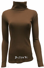 LADIES RIBBED ROLL POLO NECK LONG SLEEVE CASUAL TOP T-SHIRT JUMPERS 8 - 26/28