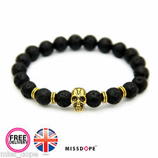 NEW Gold Skull Black Bead Bracelet Womens Mens Reiki Gothic Bangle Unisex UK