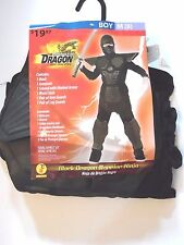 Boy S 8 Black Dragon Warrior Ninja Elite Force Halloween Costume Decoration