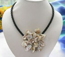 "Fashion Jewelry Mother Of Pearl Shell Flower Pendant Necklace 18"" Long - Beige"