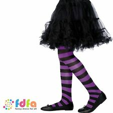 KIDS PURPLE & BLACK TIGHTS WITCH 6-12 halloween girls childs fancy dress