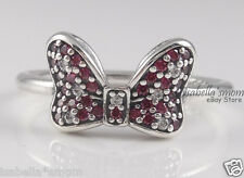Disney MINNIE BOW Genuine PANDORA  Silver/RED & Clear Cubic Cz RING 7~54 NEW