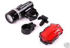Bicycle Front Headlight and Rear LED Flashing Safety Taillight Night Trail Set