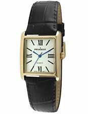 Peugeot Women's 14K Gold Plated Tank Roman Numeral Black Leather Band Watch 3...