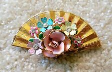 Vintage Fan Enamel Flower Brooch Gold Toned