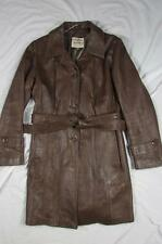 Vtg 60s 70s Womens New England Sportswear Belted Leather Coat Jacket Trench Rare