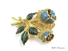 Vintage CORO Blue & Green Enamel Rhinestone FLOWER Floral Trembler BROOCH