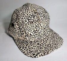 Stampd Leather Cap Hat Cheetah Leopard Print Dark Brown & Beige Pony Hair Fur