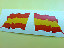SPAIN / SPANISH Wavey Flag  Motorcycle Helmet  Car Stickers Decals 2 off 60mm