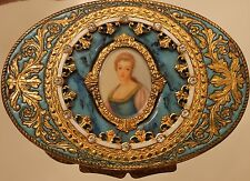 Champleve Gold Portrait Italian Compact Made in Italy Blue Enamel Rhinestones