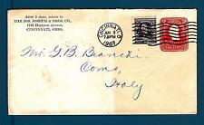 UNITED STATES - USA - BUSTA - 1907 - Da Cincinnati a Como: Washington-Jackson