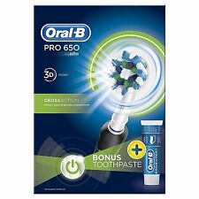 Oral-B Pro 650 Black Cross Action Electric Rechargeable Toothbrush & Toothpaste