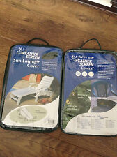 WEATHER SCREEN SUN LOUNGERS PAIR OF GARDEN CHAIR COVERS BRAND NEW AND SEALED