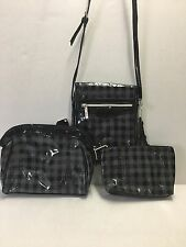 Kristine Accessories Checks In The City 3 Pc Plaid Cosmetic Bag Set & Crossbody