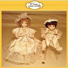 COUPLE DOLLS porcelain capodimonte HANDMADE IN ITALY porcellana doilies bambola