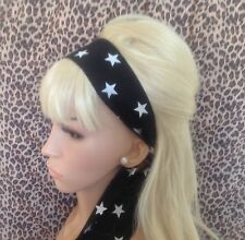 NEW BLACK WHITE STAR COTTON HEAD SCARF HAIR BAND SELF TIE BOW VINTAGE STYLE 50s