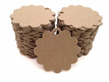 100 Count Scalloped Circle Chipboard hang tags, price tags, favor tags, crafting