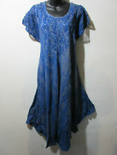 Dress Fits XL 1X 2X 3X 4X Plus Tunic Blue with Gold Wash Lace Sleeves NWT G517