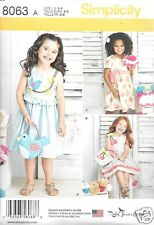 S8063 Child's  Dresses and Purces Sizes 3-8 Simplicity Sewing Pattern