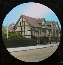 Glass Magic lantern slide STRATFORD UPON AVON C1890 SHAKESPEARES BIRTHPLACE