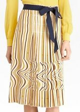 Nwt $395 Tory Burch RUBY Pleated Printed Silk Crepe Skirt ~Khaki/Marine *2