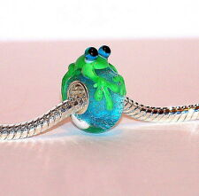 925 STERLING SILVER SINGLE CORE MURANO GLASS ANIMAL BEAD/CHARM- GREEN FROG