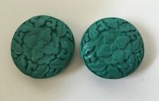 2pcs Carved Decorative Wood/Wooden Oriental Style Bead -  Aqua/Turquoise- 40mm