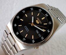 SEIKO 5 AUTOMATIC WIND SEE THROUGH 24HOURS TIMING BLACK DIAL MEN WATCH 36MM