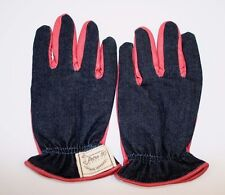 NEW Vintage Apparel Retro 110 Motorcycle Wear Gloves Leather Coral/Denim Size M
