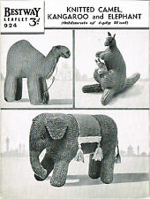 Vintage Toy Camel, Kangaroo & Elephant knitting pattern. Laminated copy