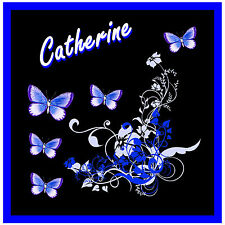BLUE / BLACK BUTTERFLY & FLOWERS CAR / WINDOW STICKER + 1 FREE - *PERSONALISED*