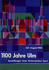 Otl Aicher 1100 Jahre Ulm Plakat von 1954 DIN A1 SUPERSELTEN Design / Grafik