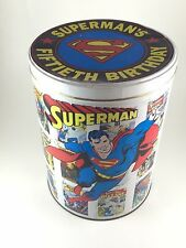 Vintage 1987 Superman's Fiftieth Birthday Tin Bucket. Bin. DC Comics Collectible