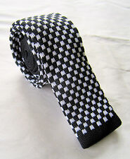 SUPERNOVA Skinny Black & White Check Knitted Silk Tie Mod Indie Ska 2 Tone