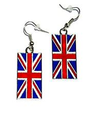EARRINGS Wires Red White Enamel Blue British Flag UNION JACK BANNER FLAGS