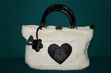 Ladies Designer Jobeeny Cream Knitted Handbag Bag Holiday Wooden Handles New