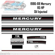 1986-88 Mercury 115 HP Oil Injection Outboard Repro 13 Pc Marine Vinyl Decal