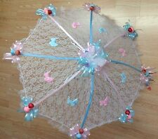 """32"""" White Lace baby shower umbrella pink & blue"""