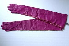Diane von Furstenberg fuchsia studded long leather gloves