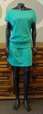 NIKE 6.0 Green Cowl Drape Cap Sleeve Drop Waist Cotton Dress - Large