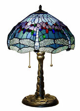 "ELEGANT TIFFANY STYLE 26"" H BLUE JEWEL DRAGONFLY TABLE LAMP LIGHT LIGHTS NEW"
