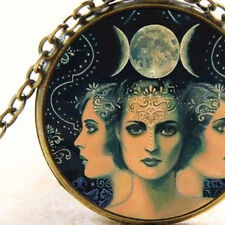 New Triple Moon, The Goddess Symbol, Wicca Necklace Divine Female Power United