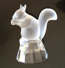 """Vtg FROSTED CRYSTAL GLASS SQUIRREL Pedistal Figurine Paper Weight Heavy 4""""x4"""""""