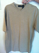 Mens Claiborne Tan V-Neck Short Sleeved T-Shirt Cotton Size XL - EUC!!!