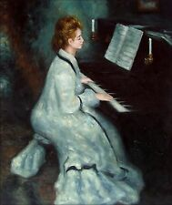 Pierre Renoir Lady at the Piano Repro, Hand Painted Oil Painting 20x24in